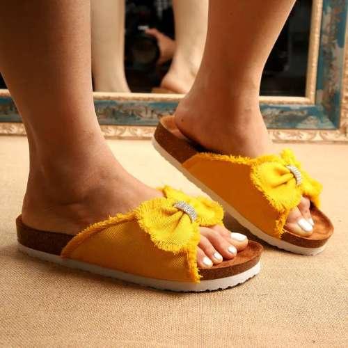Women's Fashionable Denim Bowknot Cork Bottom Slippers