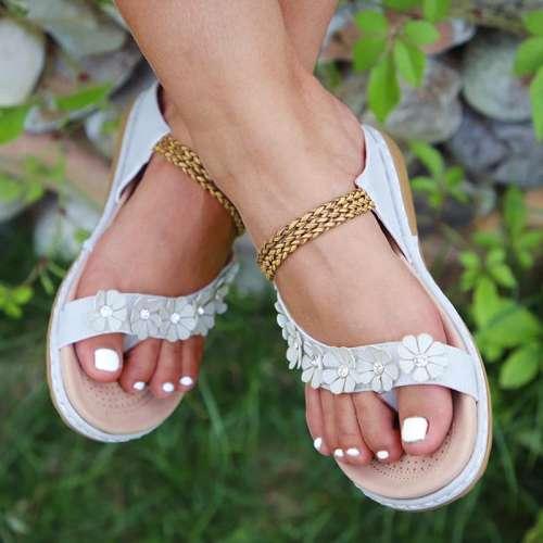 Women Casual Comfy Daily Pu Applique Rhinestone Flat Sandals