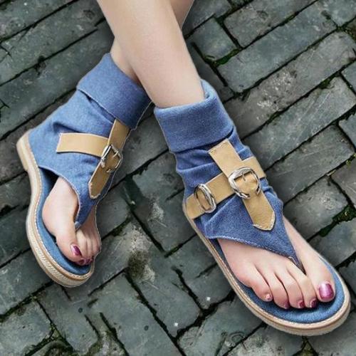 Fashion Ladies Denim Flat Sandals Summer Platform Sandals shoes