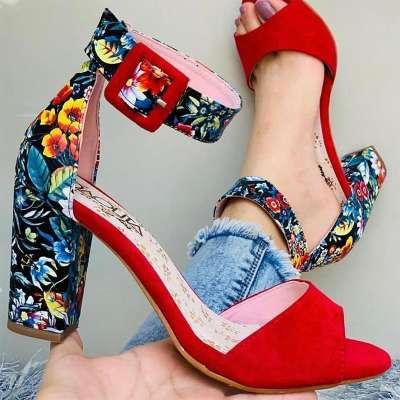 Women's Fashion Printed High Heel Sandals