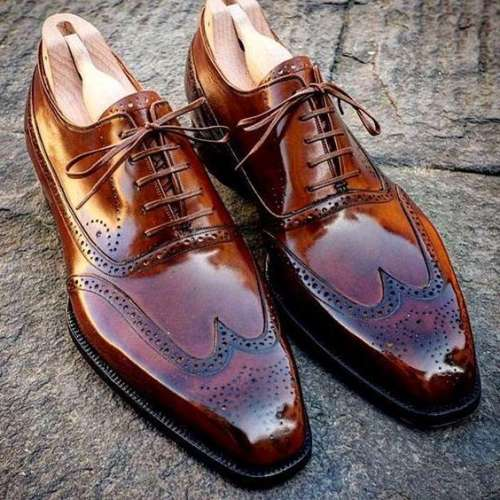 Mens Handmade Wing Tip Brogue Brown Leather Shoes