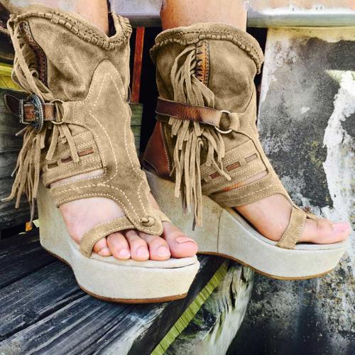 Women's Vintage Buckle Tassel Wedge Sandals