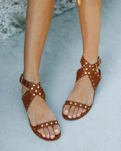 Women's Solid Color Studded Casual Handmade Sandals