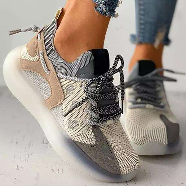 Women All Season Colorblock Lace-Up Breathable Knit Casual Sneakers