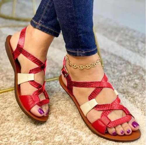 Women's Fashionable And Comfortable Color Matching Curve Design Sandals