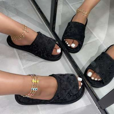 New Style Satin Dark Floral Lady Slippers