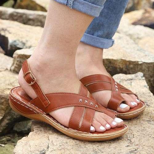 Women's Vintage Cross Flat Flip-flop Sandals
