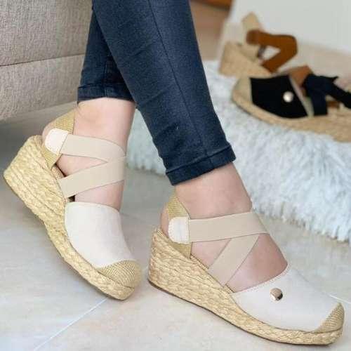 Women's Fashion Woven Wedge Sole Elastic Strap Sandals