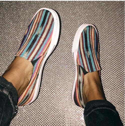 Four Seasons Color Striped Casual Shoes Men's Shoes