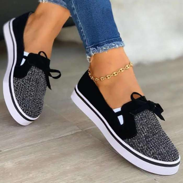 Women Casual Daily Mesh Cloth Bowknot Slip On Flat Loafers