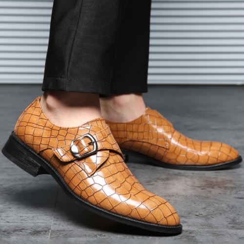 Men's Crocodile Print Business Leather Shoes