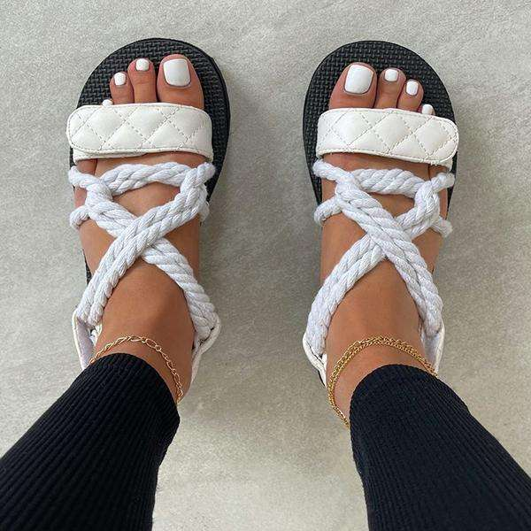 High-Waisted Strappy Flat Sandals