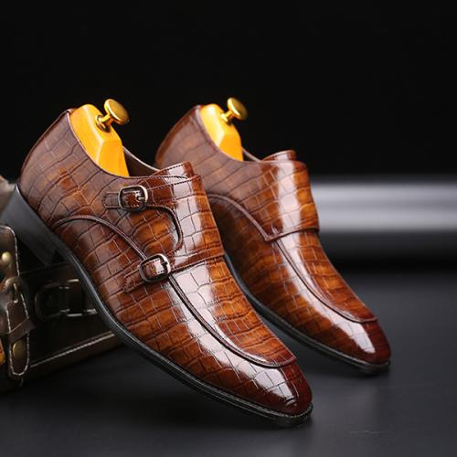 New Men's Handmade Crocodile Pattern Leather Shoes