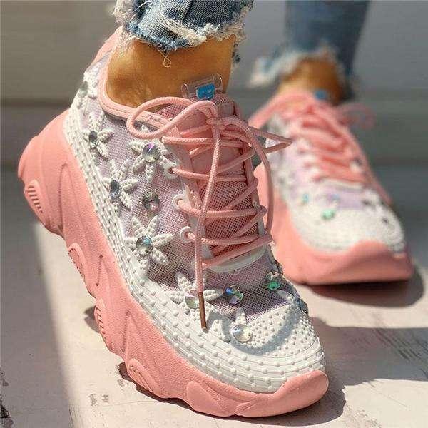 Wedding Mesh Diamante Trim Lace-Up Sneakers