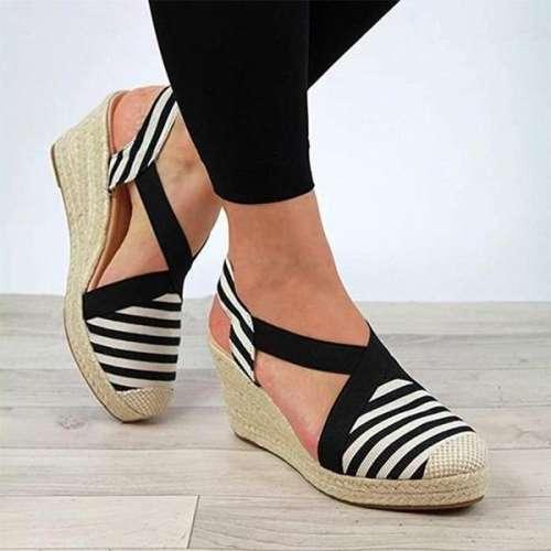 Ladies Comfortable High-heel Elastic Sandals