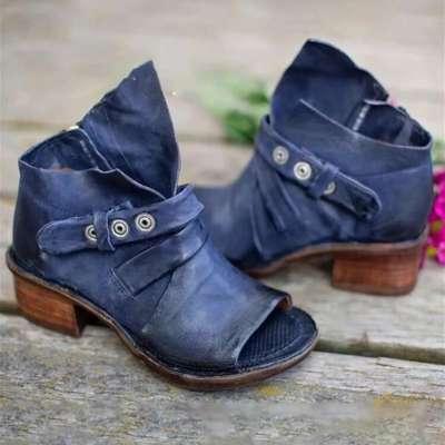 Large Size Women Retro Peep Toe Belt Buckle High Top Heels Sandals