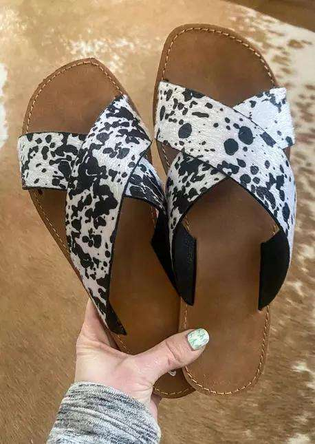Western Cow Cross Band Flat Slippers
