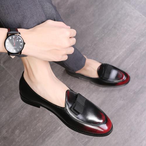 Tassel Slip-On Plain PU Leather Shoes  For Men