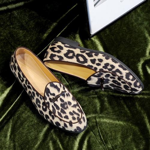 Men's  Leopard Tassel Slip-On Plain PU Leather Shoes
