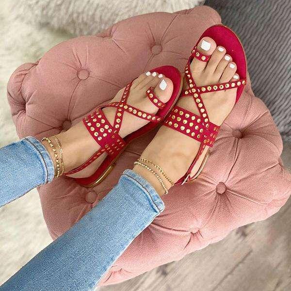 Women's Styly Rivet Flat Sandals