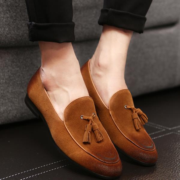 New Men's  Leopard Tassel Slip-On Plain PU Leather Shoes