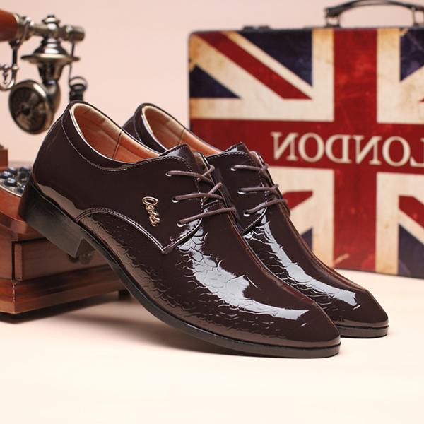 Men's Handmade Fashion Business Crocodile Pattern Leather Shoes