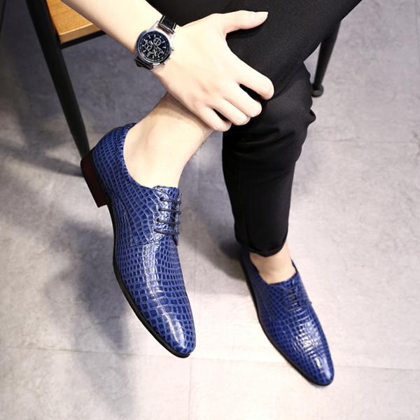 Men's Handmade Fashion Crocodile Pattern Leather Shoes