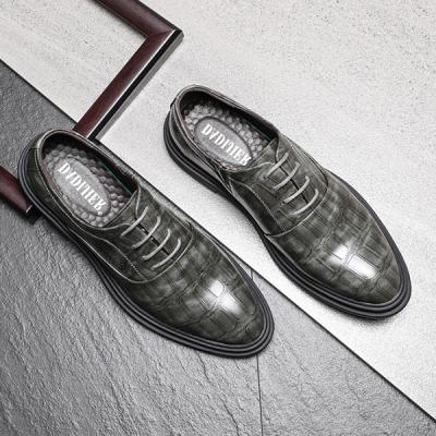 Men's Crocodile Textured Business Leather Shoes
