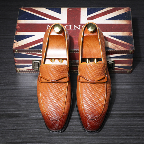 Men's Striped Casual Fashion Business Leather Shoes