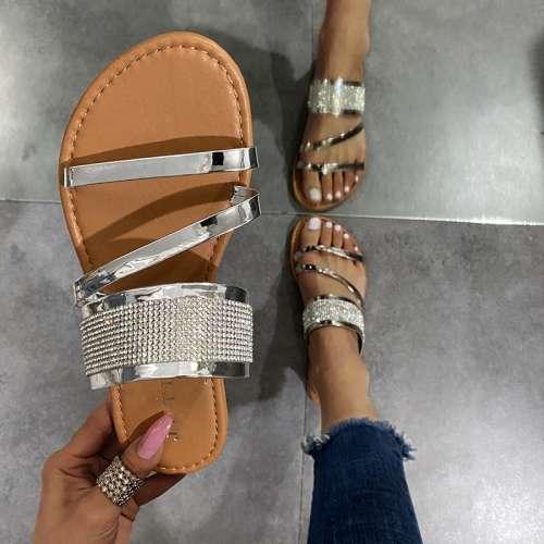 Women Slides Bling Flip Flops Bright Diamond Indoor Shoes
