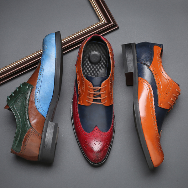 Brock Carved British Style Color Matching Retro Casual Leather Shoes