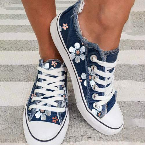 Women's Sneakers Floral Lace-up Canvas Sneakers