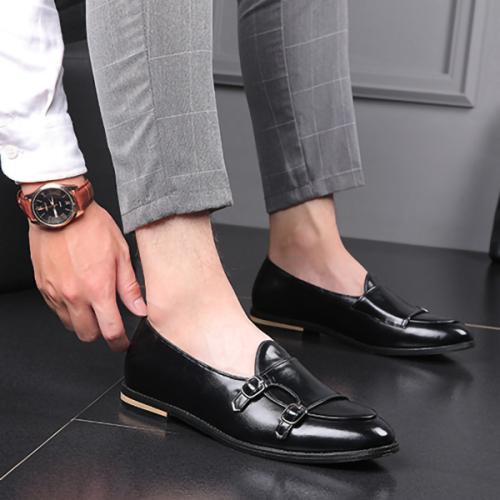 Men's British Style Fashion Belt Double Buckle Leather Shoes