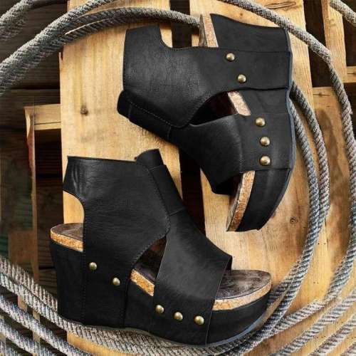 Women's Fashionable Retro Western Style Wedge Sandals