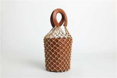 Womens Woven Net Bucket Bag Handbags Cowhide Luxury Handbags