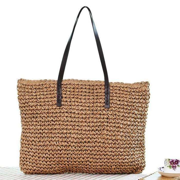 Women Handmade Straw Casual Zipper Shoulder Bags