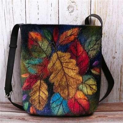 Women Colorful Leaf DIY Bag Crossbody Bag