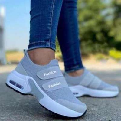 Women's Fashionable And Comfortable Flying Woven Velcro Air Cushion Sneakers