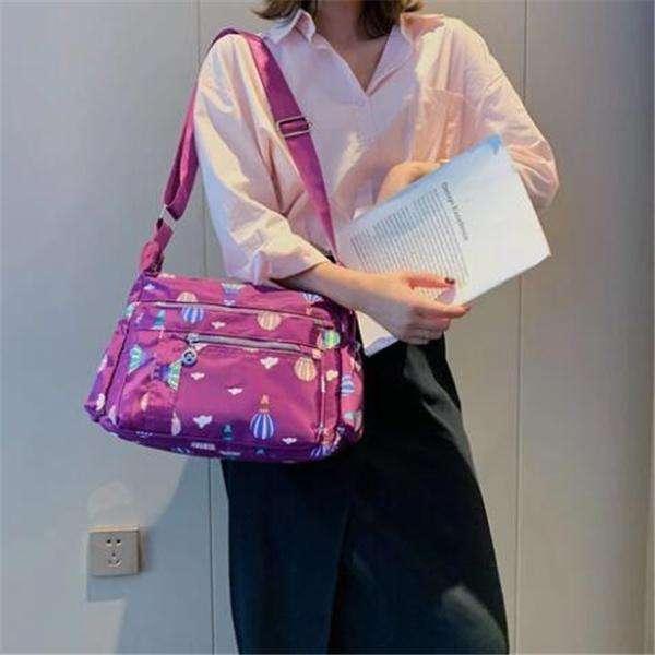 Classic Nylon Print Waterproof Multifunctional Multi-pocket Zipper Crossbody Bags