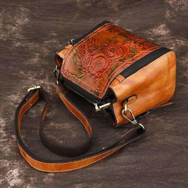 Embossed Craft Flower Handbag Genuine Leather Crossbody Bag