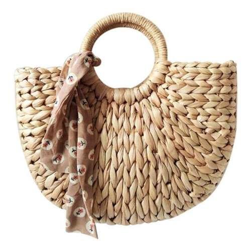Half Moon Straw Beach Handbag