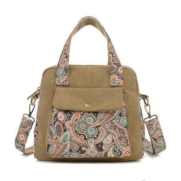 Women Vintage Floral Print Canvas Handbags