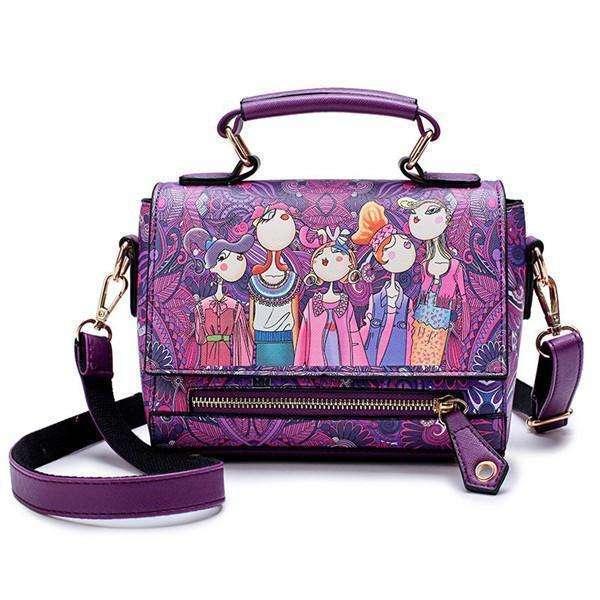 Bohemian Forest Series Print Crossbody Bag Large Capacity Handbag