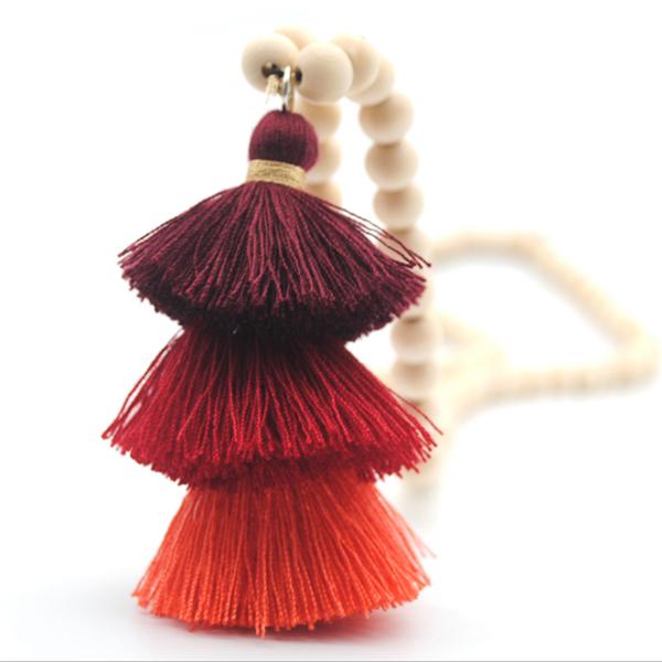 Womens Wood Beads Tassel Long Necklace