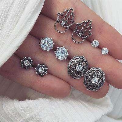 Carved Diamond Palm Flower Earrings