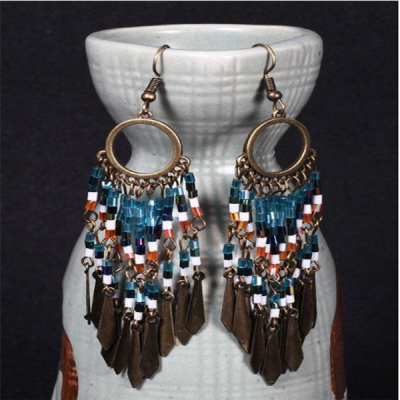 Womens Vintage Beaded Pendant Tassels Earrings