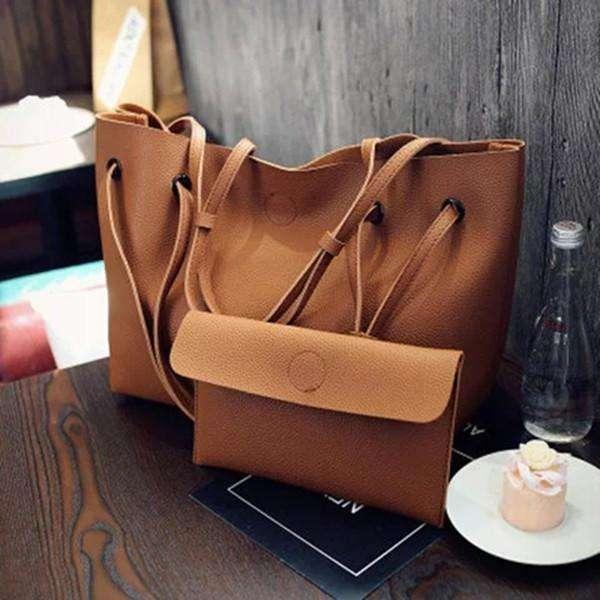 2PCS Large Capacity PU Shoulder Bag with Mini Clutche Purse