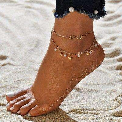 Fringed Star Pearl Anklet