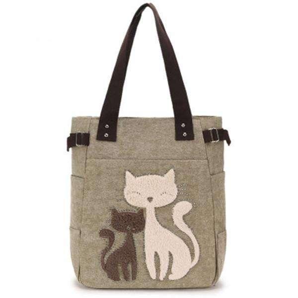 Casual Cute Cat Large Capacity Canvas Handbag Shoulder Bag