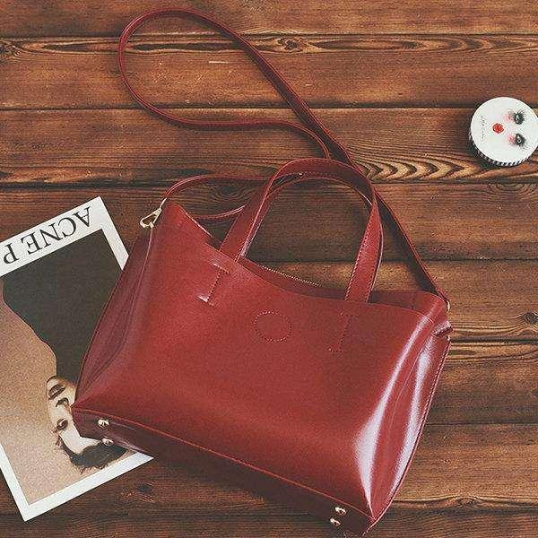 Vintage Genuine Leather Handbag Pure Color Crossbody Bag